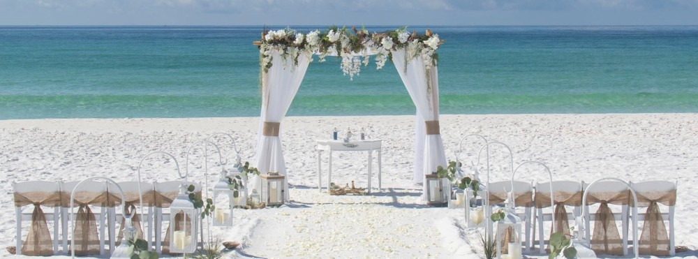 Barefoot beach Wedding Package with driftwood topper